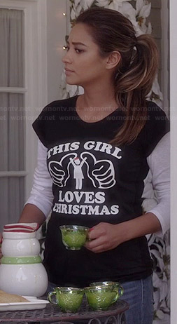 """Emily's 'This Girl Loves Christmas"""" tee on Pretty Little Liars"""