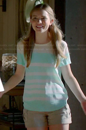 Emma's mint green striped top and beige shorts on Royal Pains