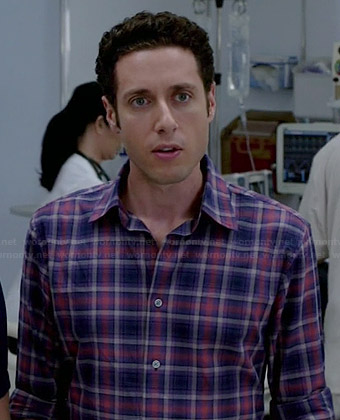 Evan's purple and pink plaid shirt on Royal Pains