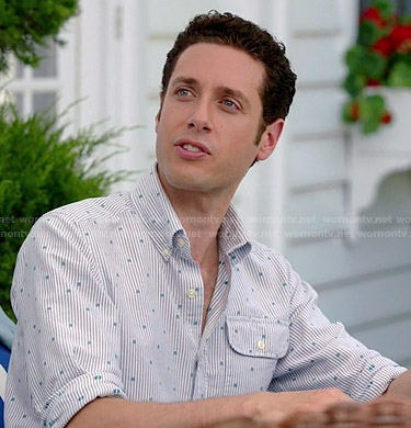 Evan's striped and polka dot print shirt on Royal Pains