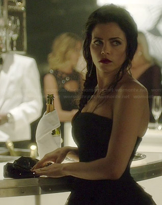 Freya's black strapless peplum gown on Witches of East End
