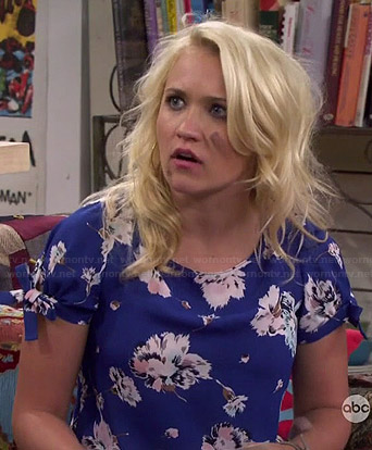 Gabi's blue floral top on Young and Hungry