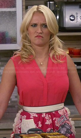 Gabi's pink floral apron and sleeveless top on Young and Hungry