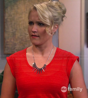 Gabi's red faint striped tee and silver spiked necklace on Young and Hungry