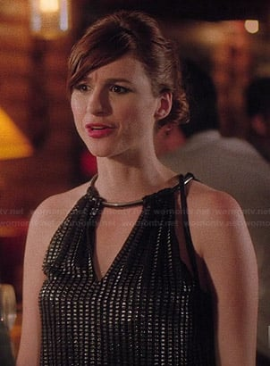 Gretchen's black keyhole front dress on You're the Worst