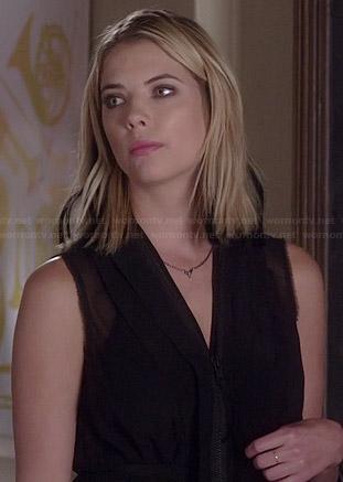 Hanna's black zip front dress on Pretty Little Liars