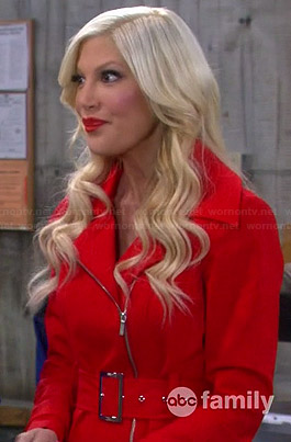 Holly's red zip trench coat on Mystery Girls