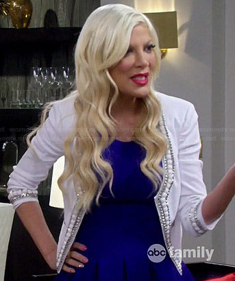 Holly's white bead trimmed jacket on Mystery Girls