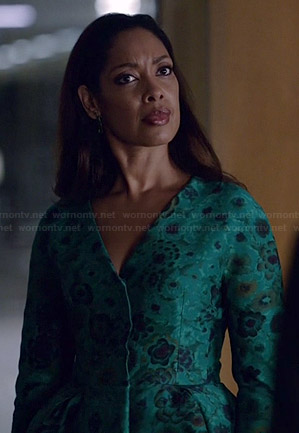 Jessica's green floral peplum jacket on Suits