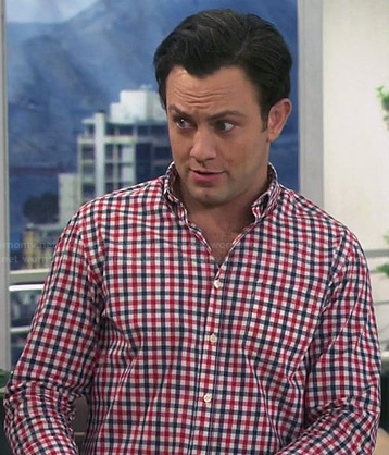 Josh's red and blue checked shirt on Young and Hungry