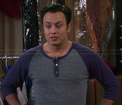 Josh's blue and grey henley tee on Young and Hungry