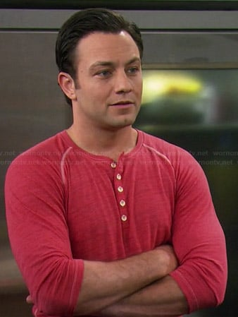 Josh's red henley tee with contrast stitching on Young and Hungry
