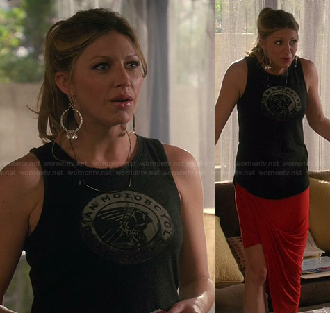 "Josslyn's ""Indian Motorcycle"" tee and red draped asymmetric skirt on Mistresses"