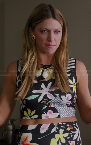 Josslyn's floral and striped crop top and matching skirt on Mistresses