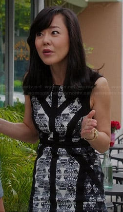 Karen's black and white triangle print dress on Mistresses
