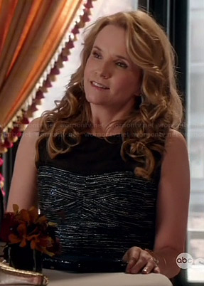 Kathryn's metallic dress with black mesh yoke on Switched at Birth