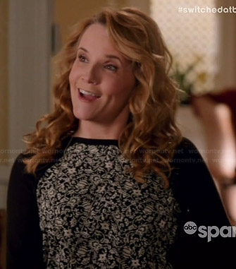 Kathryn's black and white floral panel pullover on Switched at Birth