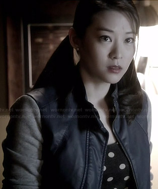 Kira's blue leather jacket with grey sleeves on Teen Wolf