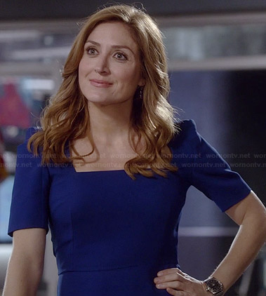 Maura's blue square neck dress with short sleeves on Rizzoli and Isles