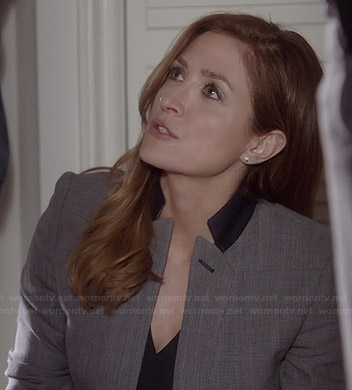 Maura's grey blazer with black collar on Rizzoli and Isles