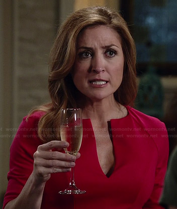 Maura's red split neck dress on Rizzoli and Isles