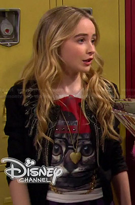 Maya's cat with glasses and hat tee on Girl Meets World