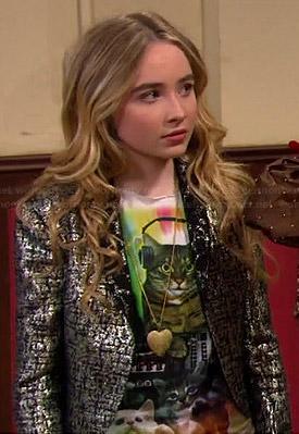 Maya's psychedelic cat tee, metallic jacket and denim shorts on Girl Meets World