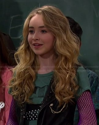 Maya's green studded lips tee and studded leather vest on Girl Meets World