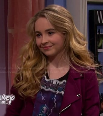 Maya's Metallica crop top and burgundy moto jacket on Girl Meets World