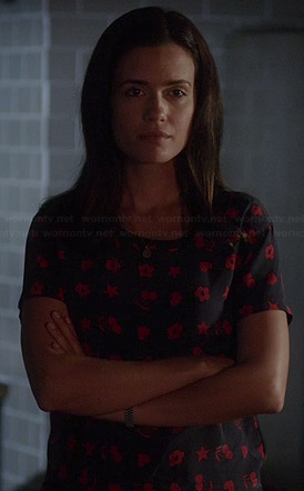 Melissa's blue and red flower, star, heart and cherry print top on Pretty Little Liars
