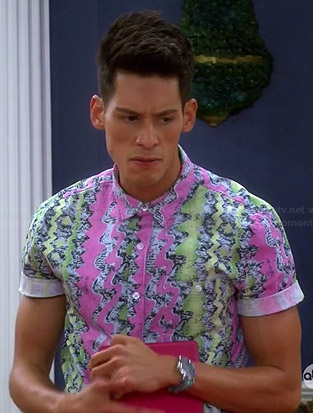 Nick's pink and green printed shirt on Mystery Girls
