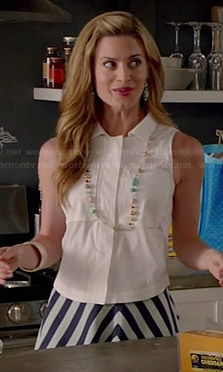 Paige's chevron striped skirt and white sleeveless shirt on Royal Pains