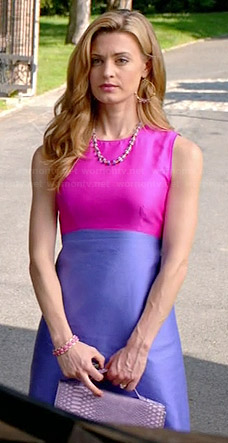 Paige's pink and purple colorblock dress and purple snake satchel on Royal Pains