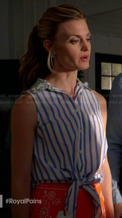 Paige's striped tie front top with floral collar on Royal Pains