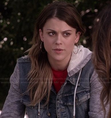 Paige's denim jacket with grey sleeves on Pretty Little Liars