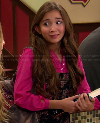 Riley's black floral overalls and pink top on Girl Meets World