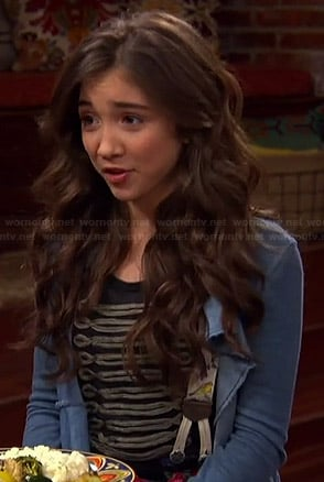 Riley's draped front denim jacket and military tee on Girl Meets World
