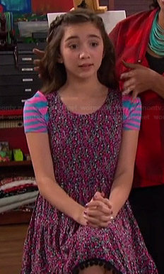 Riley's pink floral dress, striped socks and pink sneakers on Girl Meets World