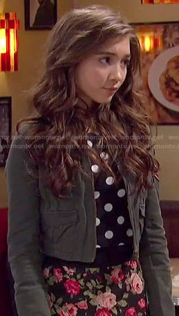 Riley's polka dot top and floral midi skirt on Girl Meets World