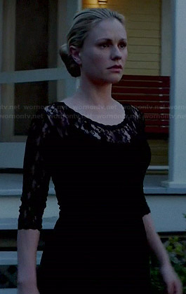 Sookie's black lace dress with scalloped trim on True Blood
