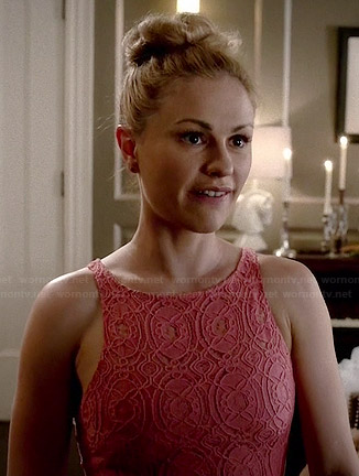 Sookie's coral lace dress on True Blood