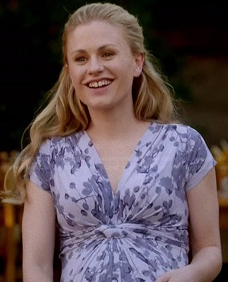 Sookie's purple floral maternity dress on True Blood