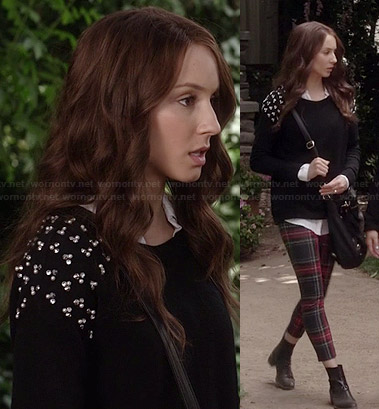 Spencer's red plaid leggings and black pearl studded sweater on Pretty Little Liars