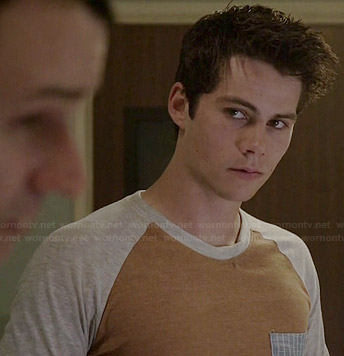Stiles's tan baseball tee with striped pocket on Teen Wolf
