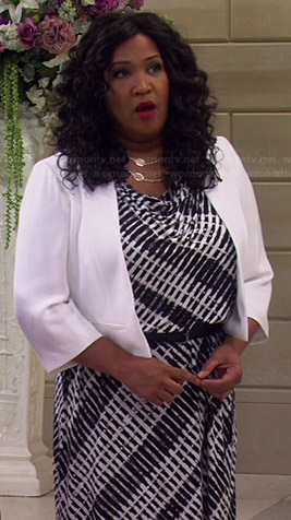 Yolanda's black and white cowl neck dress on Young and Hungry