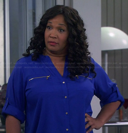 Yolanda's blue zip pocket blouse on Young and Hungry
