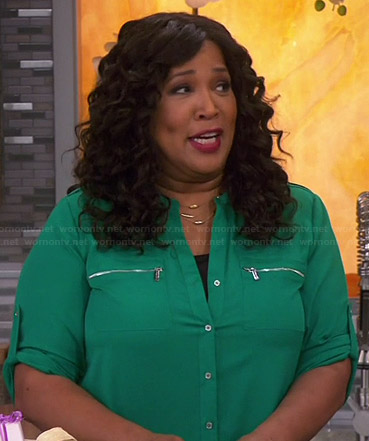 Yolanda's green zip pocket blouse on Young and Hungry