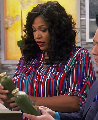 Yolanda's multi colored stripe print blouse on Young and Hungry