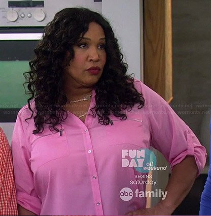 Yolanda's pink zip pocket blouse on Young and Hungry