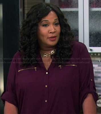 Yolanda's purple zip pocket blouse on Young and Hungry